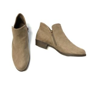 Time & Tru Nude Tan Faux Suede Flat Booties 8.5